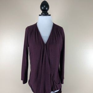 Two by Vince Camuto Purple Black Striped Wrap Top